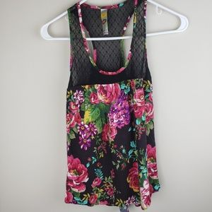 Mimi Chica | Floral Print Lace Straps Tank